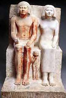 Estatua de Kaemheset con su esposa e hijo. Dinastía 6 (2323 - 2200 a.C), | Museo del Cairo/A.Amin.
