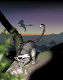 Recreación de un multituberculado y un dinosaurio. | J. Swales