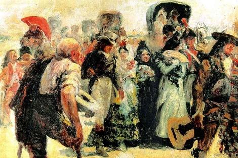 '¡A las cortes, a las cortes!', lienzo de Federico Godoy expuesto en el Museo de las Cortes.