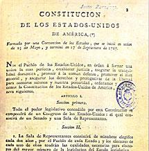 Portada de la traducción de la Constitución de los EEUU impresa en Cádiz en 1811.