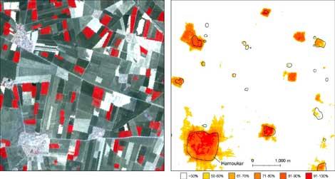A la izquierda, imagen del ASTER marcando zonas ocupadas en la Edad de Bronce; a la derecha, recreación de estos asentamientos. | PNAS