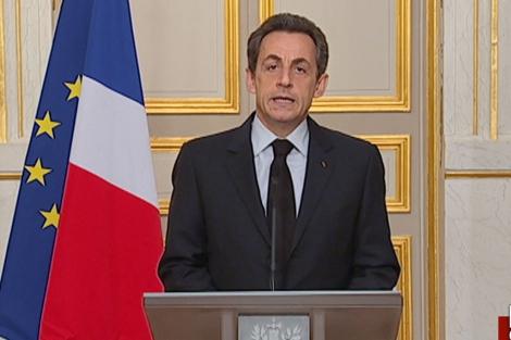 El presidente francés, Nicolas Sarkozy, durante su comparecencia en el Elíseo. | Afp