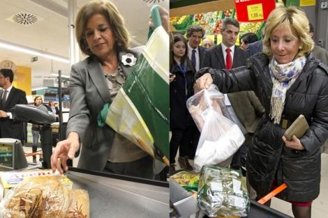 Aguirre y Botella en el Mercadona. Efe   S. González