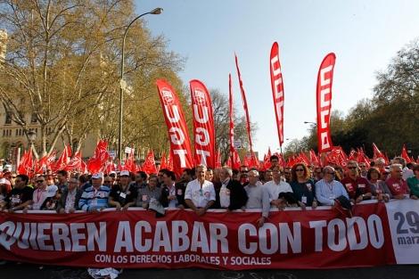 Imagen de la cabecera de la manifestación de Madrid.| José Aymá