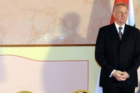 El presidente húngaro, Pál Schmitt, en Szentgotthard. | Afp