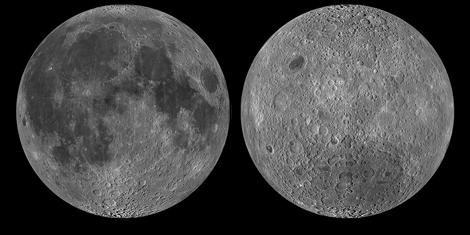 La cara visible (izda.) y la cara oculta (dcha.) de la Luna | NASA, LRO