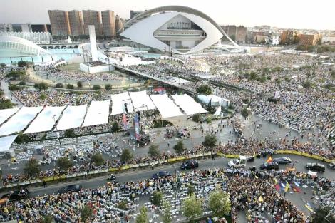 Vista aérea de la Ciudad de las Ciencias durante la visita del Papa. | Benito Pajares