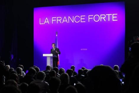 Sarkozy, durante la presentación de su programa electoral. | Reuters