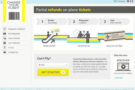 Imagen de la página web de 'Change your flight'.