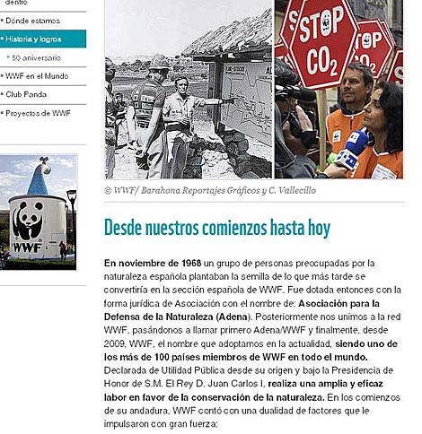 Página web de WWF España donde se habla de su presidente de honor.