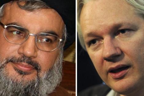 Hasán Nasrala, líder de Hizbulá, y el fundador de Wikileaks, Julian Assange.   Afp