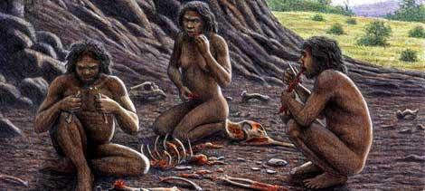 Grupo de humanos prehistóricos, aprovechando la carne con utensilios de piedra. |Mauricio Antón