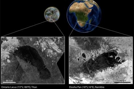 El Ontario Lacus, a la izquierda, y el de Etosha a la derecha. | ESA