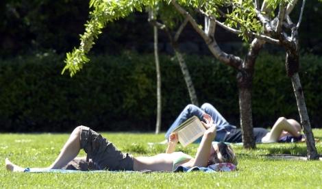 Una joven toma el sol en el césped de El Retiro.   Carlos Miralles