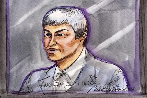 Caricatura de Larry Page durante su declaración en el juicio. | Reuters