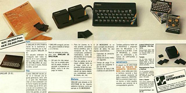 Publicidad española del Sinclair ZX Spectrum (1983)