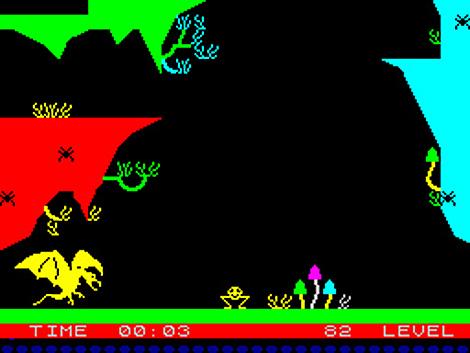 Pantalla de La Pulga (1983), primer videojuego español, para Spectrum ZX81.