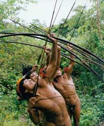 Indígenas 'awá' practican con las flechas. | Fiona Watson |Survival