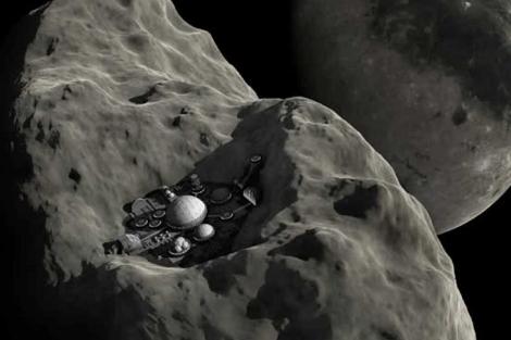 Recreación de la extracción de minerales en un asteroide. | E.M.