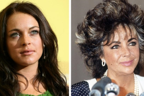 Lindsay Lohan (i), interpretará a Liz Taylor (d). | Afp