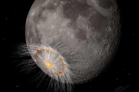 Recreación de un impacto en la Luna.  Don Davis.  'Nature'