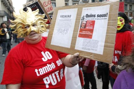 Una de las prostitutas que ha participado en la marcha. | Jordi Soteras