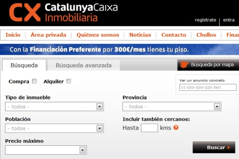 Portal inmobiliario de CatalunyaCaixa. CX Inmobiliaria.