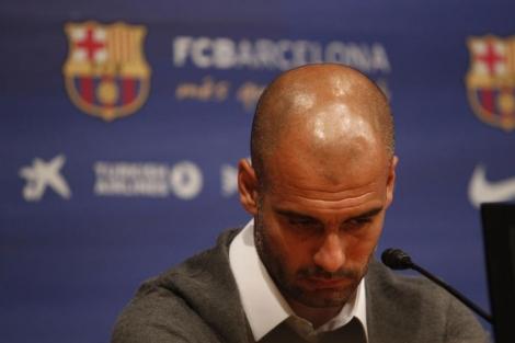 Pep Guardiola, el viernes, en la comparecencia donde anunció su salida del FC Barcelona.