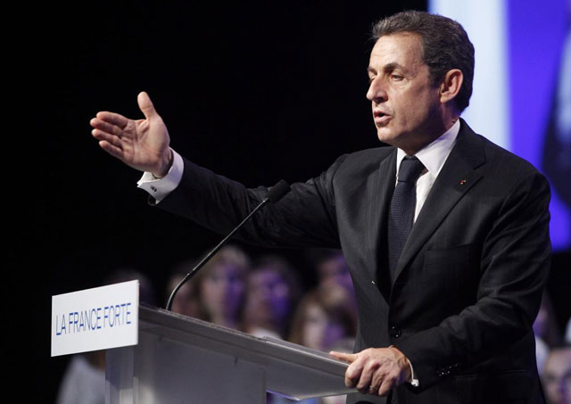 El presidente de Francia, Nicolas Sarkozy, durante su mitin electoral en Toulouse. | Efe