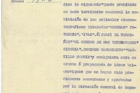Fragmento de la orden que prohibía proyectar 'películas bolcheviques' en Elche. | E.M.