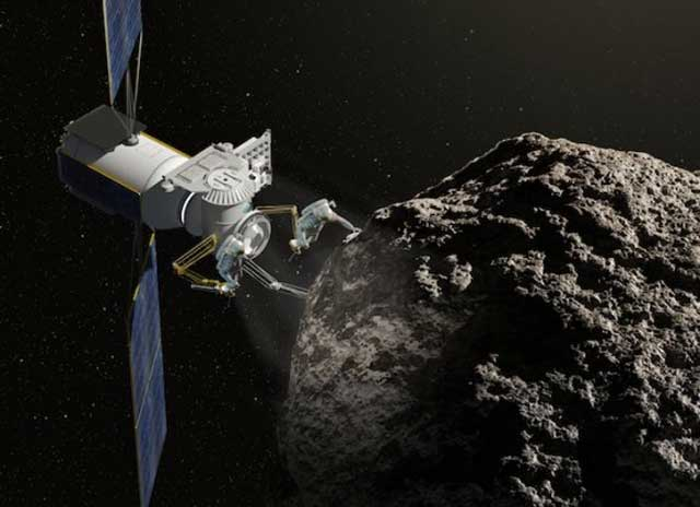 Recreación de la exploración mineral de un asteroide. | NASA