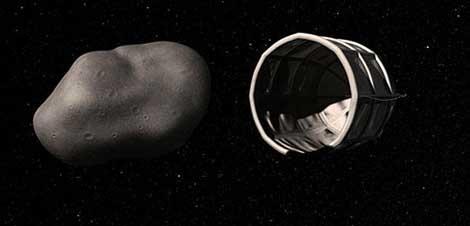 Recreación de la captura de un asteroide.   Planetary Resources