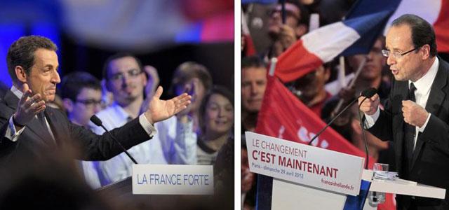 Sarkozy y Hollande en sendos actos de la campaña electoral. | Reuters