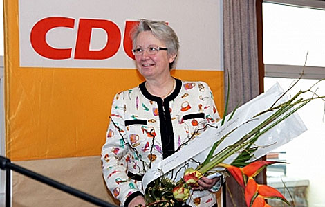 Imagen de la web de la ministra Annette Schavan, en un acto de la CDU.