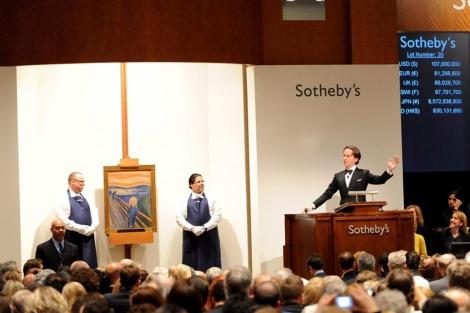 Vista de la subasta del cuadro 'El grito', de Munch. | Andrew Gombert