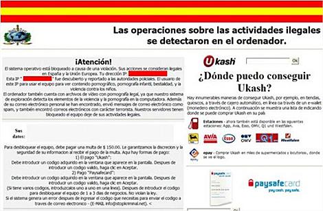 Ejemplo de sitio web malicioso.