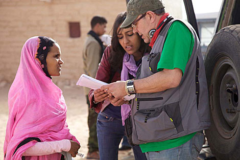 Nadhira Mohamed, en el rodaje de Wilaya.