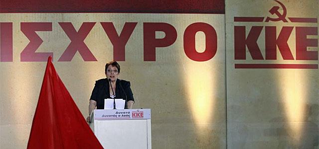 Aleka Papariga, durante un mitin.| Reuters