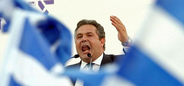 Panos Kammenos, durante un acto de campaña. | Afp