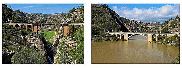 Dos imágenes del puente sobre el rio Tús en el embalse de la Fuensanta, de la cuenca del Segura.   CHS
