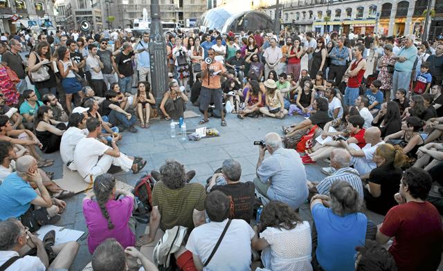 Asamblea en la Puerta del Sol el pasado agosto. | Sergio Enríquez-Nistal