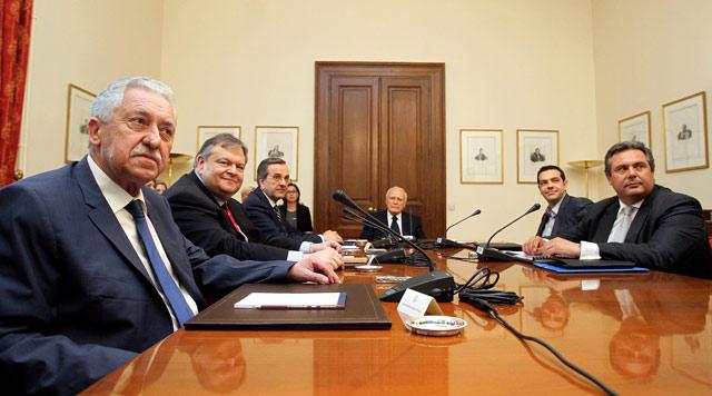 Reunión de este martes de los principales partidos en Atenas. | Efe