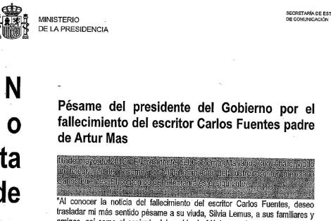 Encabezamiento de la nota de prensa distribuida por Presidencia.
