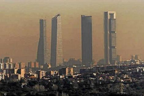 Vista panorámica de la contaminación del cielo de Madrid.