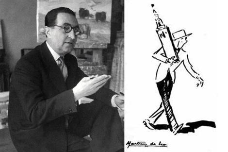 El dibujante Martínez de León, junto a su personaje, Oselito.