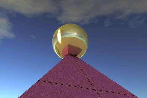 Reconstrucción de la pirámide, con la esfera en la cúspide.