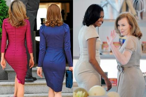 Bruni y Letizia (izda.) en La Zarzuela en 2009. Obama y Trierweiler, ayer. | Efe