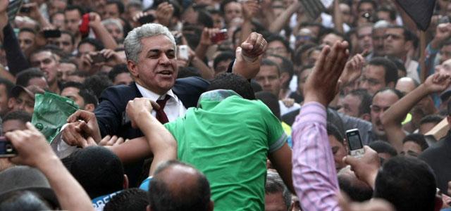 Hamdin Sabahi durante un acto de campaña en El Cairo. | Afp