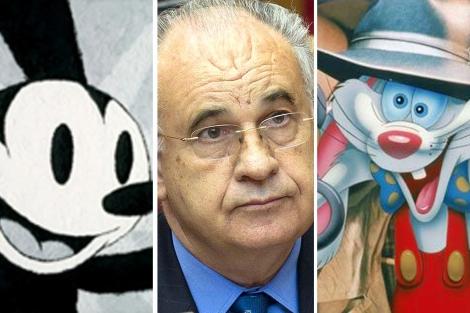 El ex conseller Blasco, entre los dibujos de Oswald y Roger Rabbit.