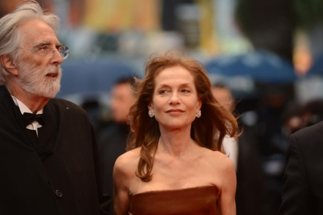 Haneke e Isabelle Hupert, en el estreno de 'Amour' en Cannes. | AFP